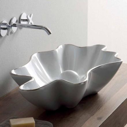 Moderní umývadlo v bílé keramice vyrobené v Itálii Rayan