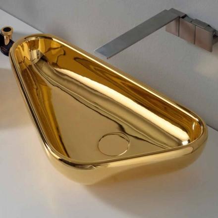 Moderní umyvadlo na desku v zlaté keramice vyrobené v Itálii