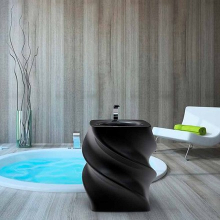 Moderní design volně stojící černé umyvadlo Twist vyrobené v Itálii