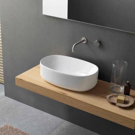 Oválné moderní bílé keramické umyvadlo na desku - Ventori1