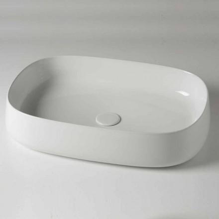 Oválné umyvadlo na desku L 60 cm v moderní keramice Vyrobeno v Itálii - Cordino