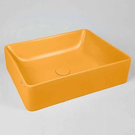Obdélníkový umyvadlo L 60 cm v keramice Vyrobeno v Itálii - Rotolino