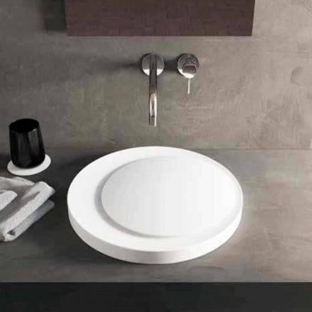 Designové kulaté umyvadlo na desku v Luxolid Solid Surface Crema
