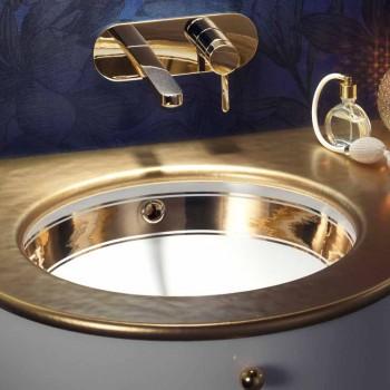 Barokní podomítkový umyvadlo v ohniště a zlatě vyrobené v Itálii, Egejské moře