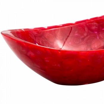 Moderní ručně vyrobený deskový dřez v červené pryskyřici Buscate