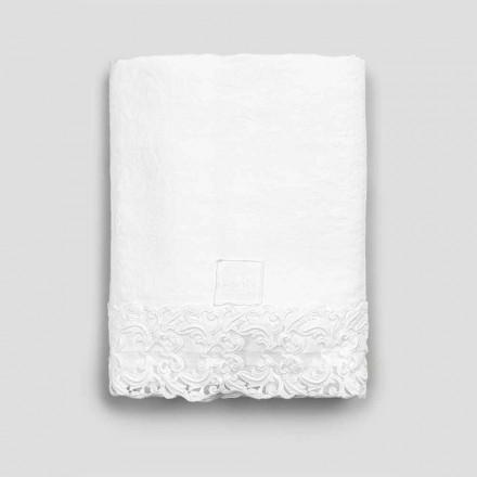 Ploché prostěradlo z bílého lnu s krajkou pro manželskou postel vysoké kvality - Fiumana