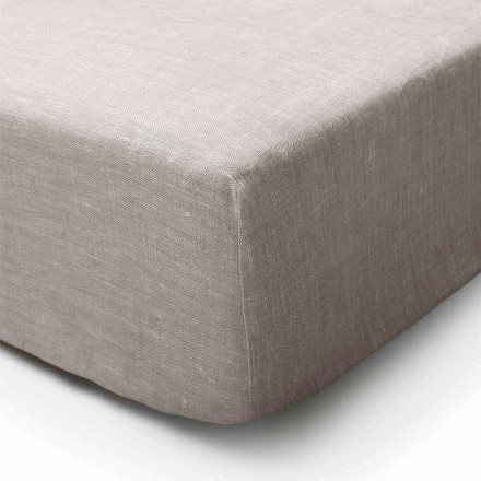 Pure Linen Fitted Sheet v přírodní barvě Vyrobeno v Itálii - Copertino