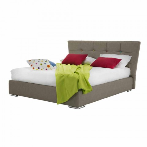 Čalouněná luxusní manželská postel s látkou nebo umělou koženou krabicí - mouka