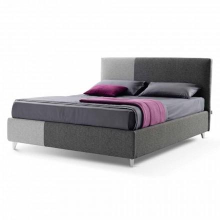 Manželská postel s krabicí v Bicolor Fabric Vyrobeno v Itálii - Jasmine