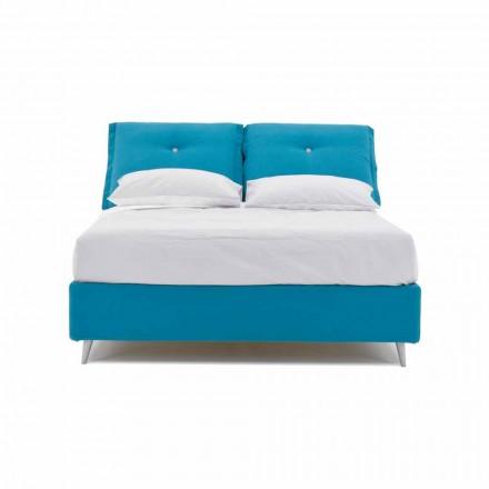 Manželská postel s kontejnerem potaženým látkou vyrobenou v Itálii - Renato