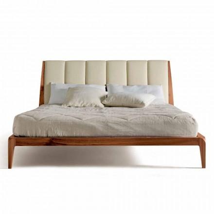 Designová manželská postel s koženou čalouněnou čelní deskou Menardo