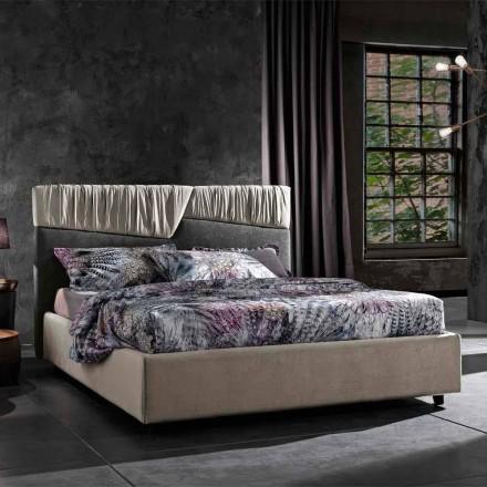Moderní designová manželská postel se skládaným nebo prošívaným čelo - Alano