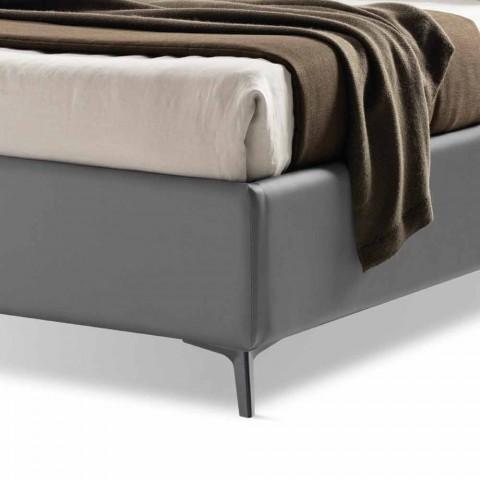 Čalouněná manželská postel s krabicí v Bicolor Ecoleather Vyrobeno v Itálii - Gagia