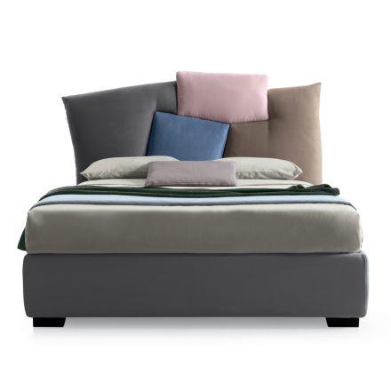 Čalouněná manželská postel s látkovým úložištěm - Belle