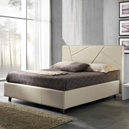 Manželská postel v umělé kůže s krabicí vrcholit 160x190 / 200 cm Mia