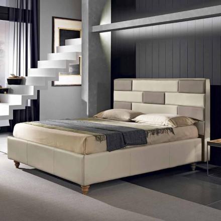 Manželská postel v umělé kůži s odkládací schránkou 160x190 / 200 cm Gin