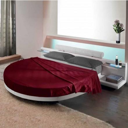 Kulatá manželská postel potažená Ecoleather, design Made in Italy - Vesio