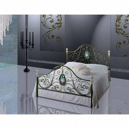 Postel a půl Square kované železné Turquoise