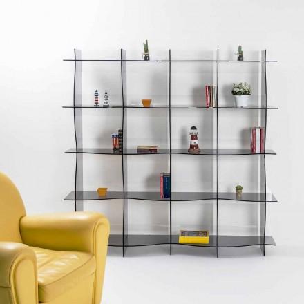 Volně stojící knihovna / stěna moderní design Pam uzený, made in Italy