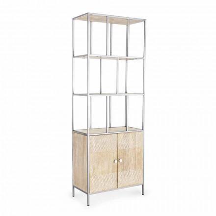 Podlahová knihovna se strukturou z chromované oceli a dřeva Homemotion - Madiz