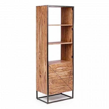 Podlahová knihovna se strukturou z akáciového dřeva a oceli Homemotion - Golia