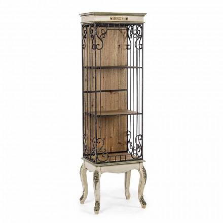 Podlahová knihovna v klasickém designu ze dřeva a oceli Homemotion - Verena