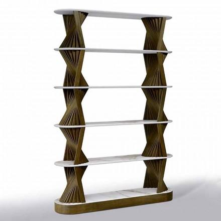 Luxusní podlahová regál ze dřeva s kameninovými deskami vyrobenými v Itálii - Aspide