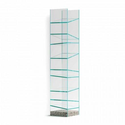 Designová podlahová knihovna ve skle s ocelovým podstavcem vyrobená v Itálii - Biba