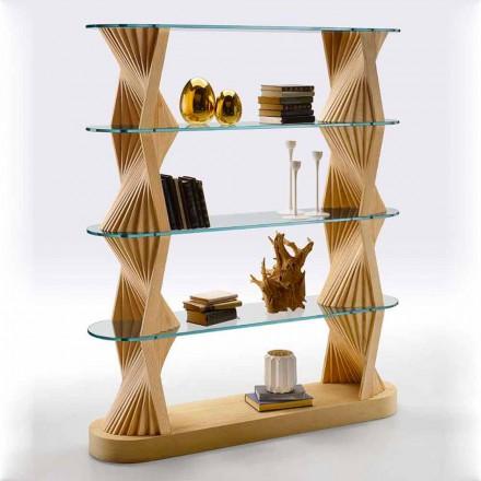 Luxusní podlahová knihovna ze skla a jasanového dřeva vyrobená v Itálii - Aspide