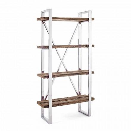 Moderní podlahová knihovna Homemotion z chromované oceli a dřeva - Lisotta