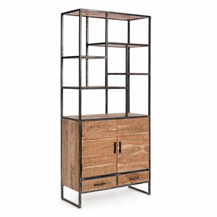 Podlahová knihovna Homemotion z lakované oceli s dřevěnými policemi - Zompo