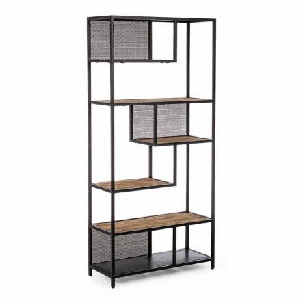 Podlahová knihovna Homemotion z lakované oceli s dřevěnými policemi - Borino