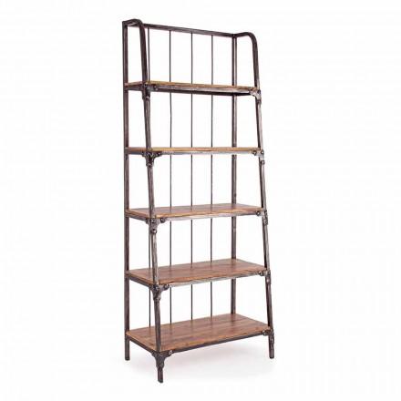 Podlahová knihovna Homemotion z lakované oceli s dřevěnými policemi - Molina
