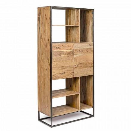 Homemotion - knihovna Goliath na podlaze z akáciového dřeva a lakované oceli