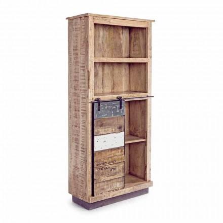 Podlahová knihovna Homemotion v mangovém dřevě s ocelovými vložkami - Vidia