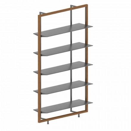 Podlahová knihovna z kovu, hliníku a dřeva vyrobená v Itálii - Bonaldo Aliante