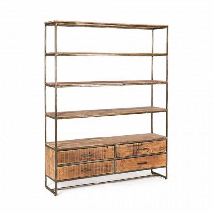 Podlahová police v průmyslovém stylu z oceli a dřeva Homemotion - Zompo