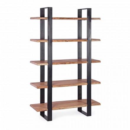Moderní ocelová podlahová knihovna Homemotion s dřevěnými policemi - Lanza
