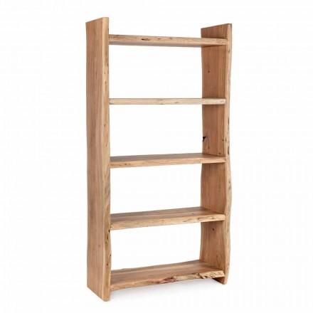 Moderní podlahová knihovna z akáciového dřeva s 5 policemi Homemotion - Lauro