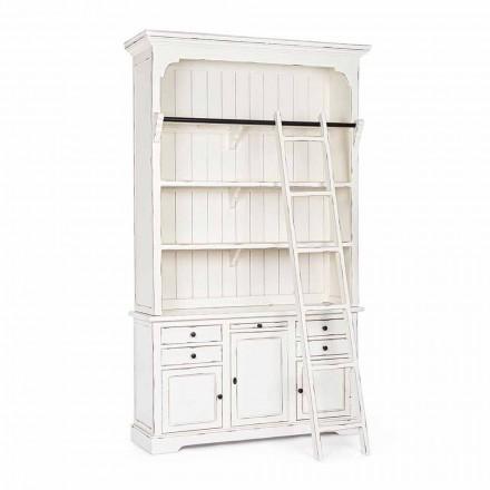 Klasická dřevěná knihovna s dekorativním žebříkem Homemotion - cedr