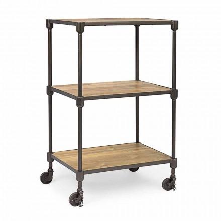 Knihovna z lakované oceli s kolečky a policemi v teaku Homemotion - Fulvia