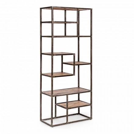 Malovaná ocelová a dřevěná knihovna Homemotion v průmyslovém stylu - Zompo