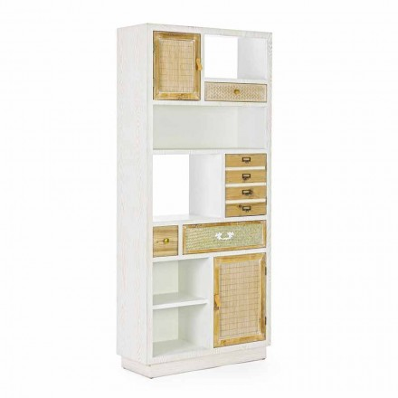 Podlahová knihovna v rustikálním stylu se strukturou MDF Homemotion - Moiora