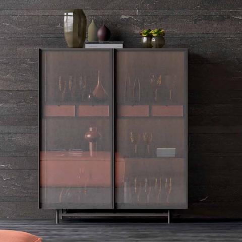2dveřová příborník v ekologickém dřevěném a kovovém designu Obývací pokoj nebo vchod - Aaron