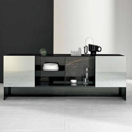 Designová příborník se 2 dveřmi ve smokey glass vyrobené v Itálii - Scocca