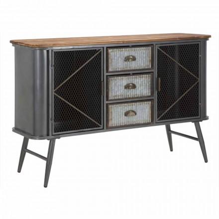 Vintage průmyslové železo a dřevo design obývacího pokoje příborník - Akimi