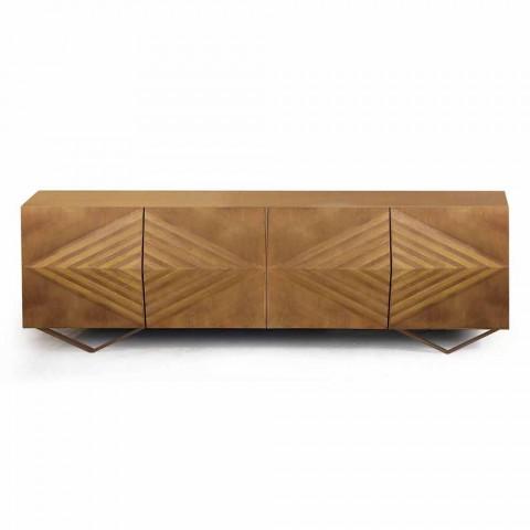 2 nebo 4 dveře Dřevěný příborník s křišťálovými policemi vyrobené v Itálii - Gardena