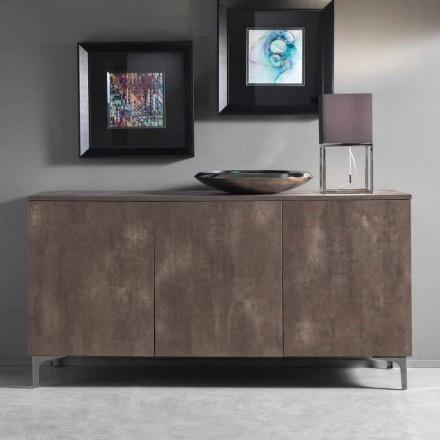 Moderní skříň, tři dveře z melaminového dřeva, bronz nebo šedá Vyrobeno v Itálii - Clemente