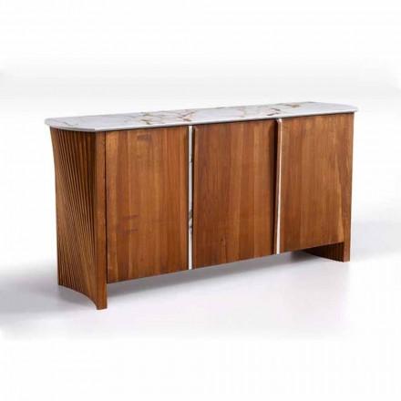 Dřevěný příborník s mramorovým efektem Gres Top, vysoce kvalitní vyrobený v Itálii - Wonka