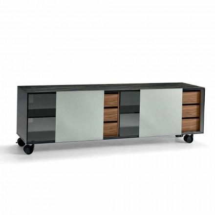 Moderní příborník na kolečkách v kouřové skle a keramické desce vyrobené v Itálii - Scocca
